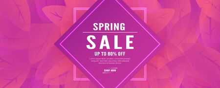 Abstract background for spring season. Template design in long banner style with new trend of gradient. Vector illustration for cover, discount promotion, advertisement. Archivio Fotografico - 129778337