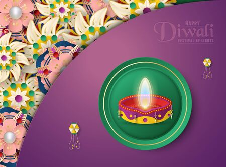 Diwali is festival of lights of Hindu for invitation background, web banner, advertisement. 3D Vector illustration design in paper cut and craft style.