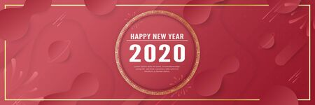 Vector illustration template for celebration of new year 2020. Modern abstract gradient background in liquid and fluid style. Trend design of the world.