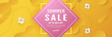 Abstract background for summer season. Template design in long banner style with new trend of gradient. Vector illustration for cover, discount promotion, advertisement.