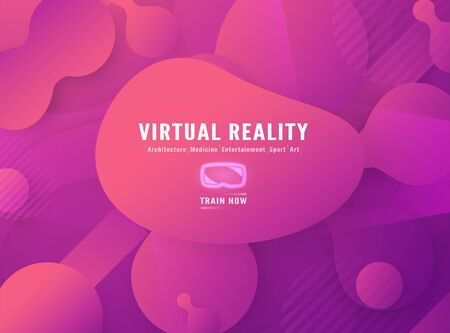 Template of virtual reality for web banner, business presentation, advertisement, gaming. Modern abstract gradient background in liquid and fluid style. Trend design of the world. Ilustração