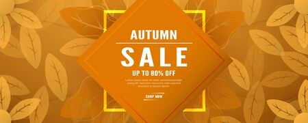 Abstract background for autumn season. Template design in long banner style with new trend of gradient. Vector illustration for cover, discount promotion, advertisement.