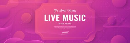 3D illustration template of music festival for invitation, advertisement, long banner. Modern abstract gradient background in liquid and fluid style. Trend design of the world.