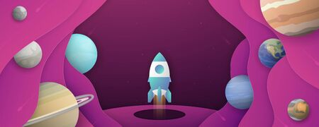 Rocket is flying in galaxy space of the universe. Abstract gradient background in liquid and fluid style. Trend creation of the world. 3D illustration template design. It is art craft for kid.