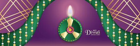 Diwali is festival of lights of Hindu, Indian for invitation background, web banner, advertisement. 3D Vector illustration design in paper cut and craft style.