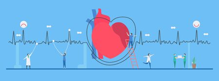 Cardiology vector illustration. This heart disease problem called arrhythmia. The bad periodic signal can be used for diagnosis and analysis of a failure system.