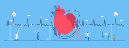 Kardiologie-Vektor-Illustration. Dieses Herzkrankheitsproblem wird Arrhythmie genannt. Das schlechte periodische Signal kann zur Diagnose und Analyse eines Fehlersystems verwendet werden.