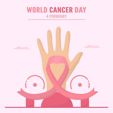 Vector illustration about World Cancer Day. People have to be raising awareness and education about this disease. The sign of this day is pink ribbon. Çizim