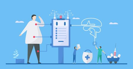 Digital health is mix of technologies such as AI, healthcare, living, and society to add more efficiency. it can helps doctor to decide precisely. Vector illustration in flat tiny style.