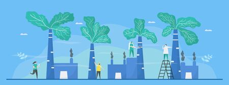 Manipulation design in concept of air pollution, such as PM2.5 and PM10. People should plant more trees. Vector illustration for World Environment Day. Ilustrace