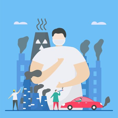 Air pollution, such as PM2.5 and PM10, causes danger to people. This problem can make people died because stroke, heart disease, lung cancer. Vector illustration for World Environment Day.. Ilustração