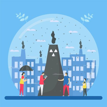 Air pollution, such as PM2.5 and PM10, causes danger to people. This problem can make people die because stroke, heart disease, lung cancer. Vector illustration for World Environment Day..
