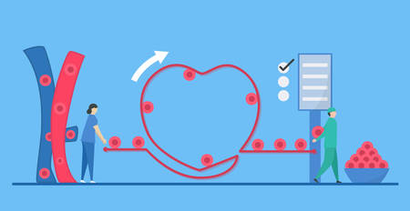 Cardiology illustration. On blue background, heart disease problem called arrhythmia. Blood cell flowing is good.