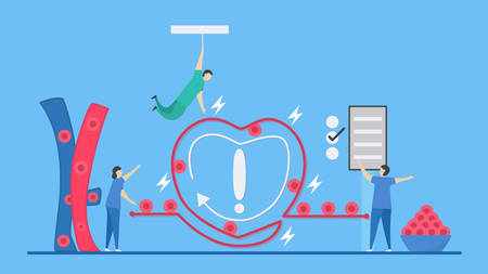 Cardiology illustration. On blue background, heart disease problem called arrhythmia. Blood cell flowing. Electric current is short circuit. Emergency time. Çizim