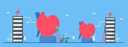 Cardiology illustration. On blue background, heart disease problem called tachycardia and bradycardia arrhythmia. Periodic signal is fast and slow impulse response respectively.