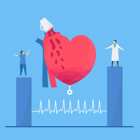 Cardiology illustration. On blue background, heart disease problem called tachycardia arrhythmia. Periodic signal is fast impulse response because people take coffee too much. Çizim