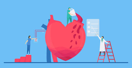 Cardiology illustration. On blue background, heart disease problem called tachycardia arrhythmia. Periodic signal is fast impulse response because of coffee