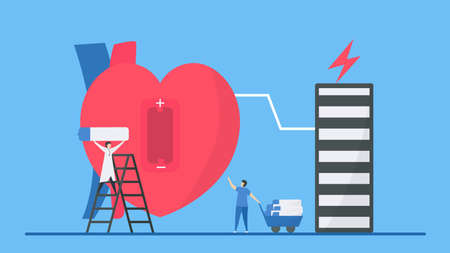Cardiology illustration. Heart disease problem called bradycardia arrhythmia. If heart has Low battery or energy, this failure will makes periodic signal too slow.