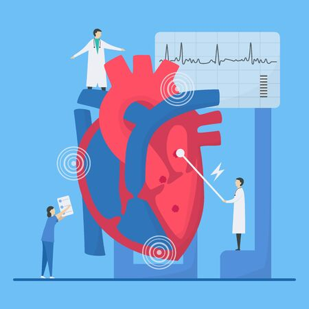 Cardiology vector illustration. This heart disease problem is arrhythmia. Diagnostic and analysis of failure system of periodic signal.