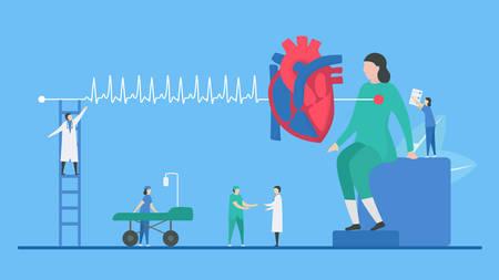 Cardiology illustration. Heart disease problem called tachycardia arrhythmia. Periodic signal is fast impulse response. Flat tiny style. Illustration