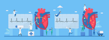 Cardiology illustration. This heart disease problem is arrhythmia. Comparison of normal and unusual signals from left to right respectively. Tiny flat design. Çizim