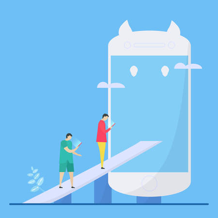 Neck pain research. People spend more time for look down to view smartphone or tablet. Illustration in flat style. Çizim