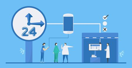 Digital health 24 hours is mix of technologies such as AI, healthcare, smartphone, and society to add more efficiency. it can helps doctor to decide precisely. Vector illustration in flat tiny style.