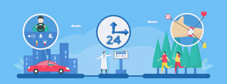 Digital health 24 hours is mix of technologies such as AI, smart car and watch, smartphone to add more efficiency for helping people. Illustration in flat tiny style.