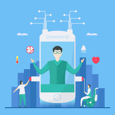 Digital health is mix of technologies such as AI, smartphone to add more efficiency for helping people. Illustration in flat tiny style.