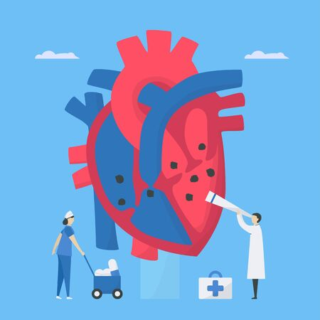 Cardiology vector illustration. This disease calls endocarditis. It is infection of endocardium that is inner heart chambers and valves. Diagnostic and analysis of doctor to take care patient.