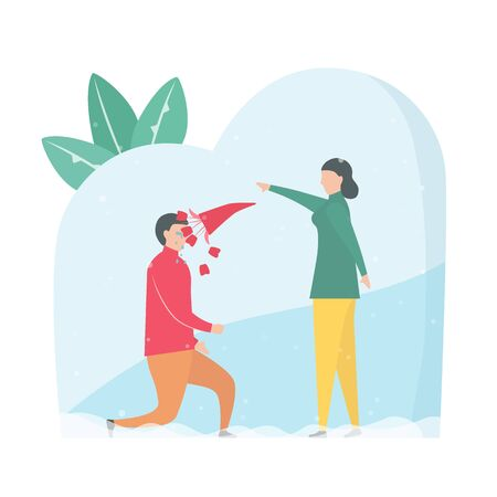 Couple of love is broken heart. Woman throws rose bouquet to her boyfriend. Vector illustration is in flat style.