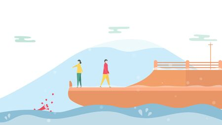 Couple of love is broken heart on cruise ship in winter season. Drop down of rose on the sea. Vector illustration is in flat style.