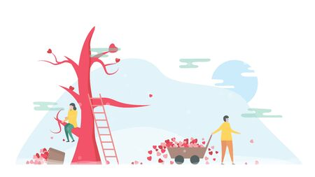 Couple of love is broken heart in winter season. Drop down of hearts on the floor. Vector illustration is in flat style. Illustration