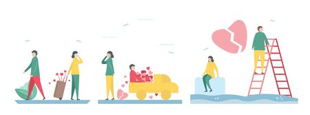 3 Set of broken heart of lover. Scene is designed in winter season. Vector illustration in flat style. Illustration