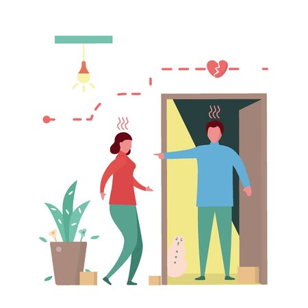 Man argues girlfreind in front of the door. Vector illustration in flat style.