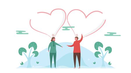 Man argues with woman in the park. Couple of love design for winter season. Vector illustration in flat style.