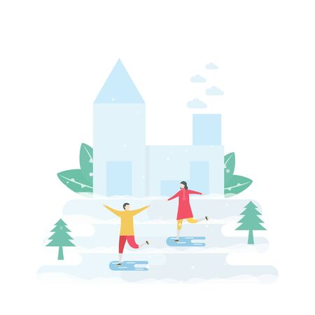 Lover plays ice skating. Scene is designed for winter season. Vector illustration is in flat style. Vektorgrafik