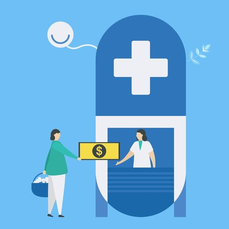 Pay money to nurse receptionist. Picking up medicines. Workflow of patient care.