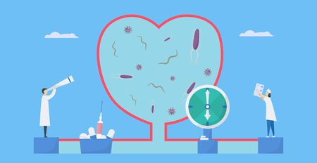 Cardiology vector illustration. This disease calls endocarditis. It is infection of endocardium that is inner heart chambers and valves. Bacteria, parasite and virus are running to blood vessel.