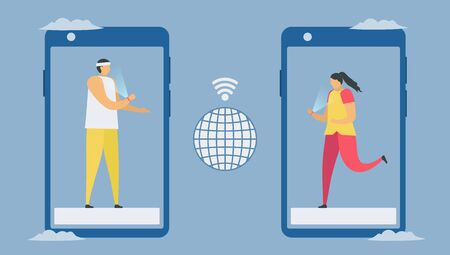 Online communication with smartphone and smart watch technology. Social distancing design for the trend of this year. It is a coronavirus or COVID-19. Vector illustration is in flat style.