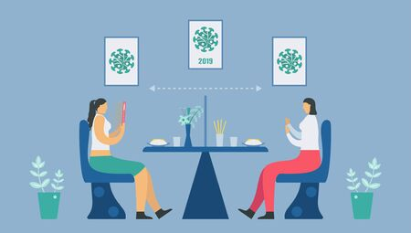 Social distancing in canteen. You have to sit away from people before . eating. Save life from coronavirus outbreak. Vector illustration designs in flat style.