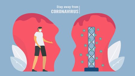 Social distancing. Man stays away from new virus . Precaution for new coronavirus outbreak. Vector illustration designs in flat style.