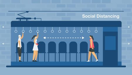 Social distancing in electric train. Sit and stand away from sick people. Save life from coronavirus outbreak. Vector illustration designs in flat style.
