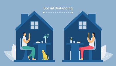 Online communication with smartphone technology. Social distancing design for the trend of this year. It is a coronavirus or COVID-19. Work and eat at home. Vector illustration is in flat style.