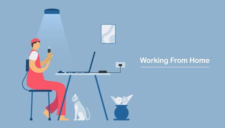 Video conference calls with Laptop or smartphone. Work from home for protecting new coronavirus. Isolated vector is in flat style.