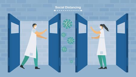 Social distancing of doctor and nurse. They help patients that infect with new coronavirus 2019. Save life. Vector illustration is in flat style.