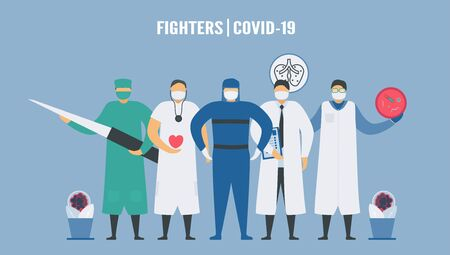 Medical teams for fighting with new coronavirus. This team include cardiologists, cardiac surgeon, infectious disease physician, microbiologist and intensivist. Çizim