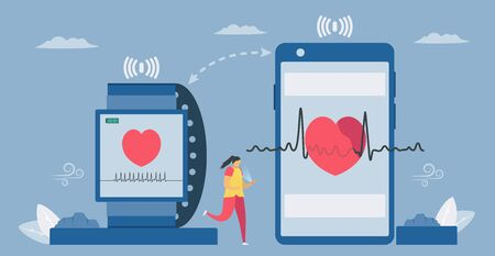 Smartwatch and smartphone for health. Checking heart rate, temperature and others. New future technology for people. Infographic vector illustration in flat style. Çizim