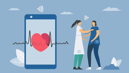 Wireless digital stethoscope. New technology for heart rate checking. Vector elements isolated on blue background.