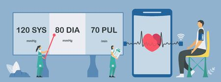 Arm blood pressure monitor with wireless module. New technology for heartbeat and pulse checking. Easy for installation and using by yourself. Vector elements isolated on blue background.